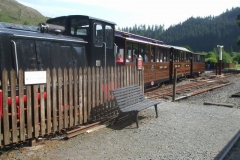 A train for an educational school trip arrives, in conjunction with Corris Mine Tours …