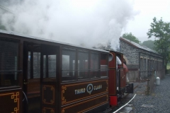 The late running 13.40 train departs Maespoeth in the rain with a spectacular steamy exit!