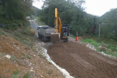 Southern Extension. Pont y Goedwig Deviation Project. Tuesday, 12.10.2021. More material is delivered for the embankment, spread and rolled ...
