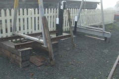 Meanwhile, the gantry is temporarily supported at one end, on rails and sleepers.