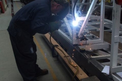 The vestibule handrail is then finish welded …