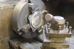 Tuesday, 10.9.2019. Bob has a carriage axlebox cover set up in the lathe …