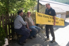 At Maespoeth, Charles chats with Patrick and Neil, having removed the Teddy Bear's gantry board …