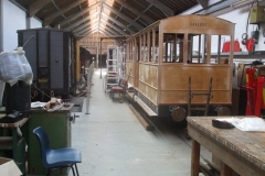 In the Carriage Shed, the body of carriage No. 23 appears to be almost ready for painting and glazing …