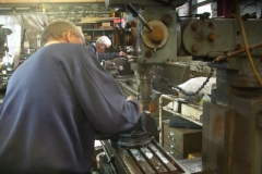 Tuesday, 11.7.2017 The workshop is busy, Chris machining parts for a Facing Point Lock while Bob continues turning parts for screw couplings ...