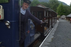 Dave hands over the train staff for the final working of the day – straight down to the Carriage Shed.