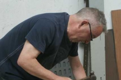 Saturday, 10.5.14. Adrian is in the carriage shed, marking out the frames of No. 23 …