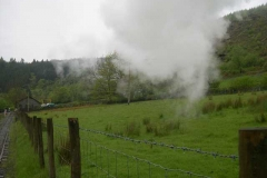 Thursday, 8.5.14. After delivering a talk the previous night to the Plas Tan y Bwlch Railway Study course, a Special was laid on for them with good steam effects in the damp atmosphere!