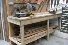 Tuesday, 6.5.14. The Tuesday gang have completed the work bench in the Carriage Shed …