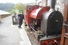 Mike Green awaits the return of the passengers to take them on the return trip to Corris...