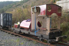 The sheet steel work of No. 7 is pushed outside so that it can be thoroughly de-greased as part of the preparation towards repainting …