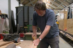 Neil is sanding down the moulding created to conceal wiring for carriage No. 20 …
