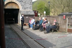 Good Friday, 18.4.14. Derek entertains a group of passengers late on a warm, sunny afternoon …