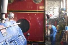Monday, 21.4.14. Bob and Adam prepare No. 7 in the Engine Shed …