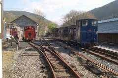Saturday, 19.4.14. The passenger carriages are propelled into the North Platform as No. 7 is prepared outside on a wonderfully sunny morning.