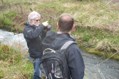 Richard takes photographs while walking the Pont y Goedwig Deviation site with Colyn from RBA Consultants.