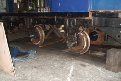 In the Engine Shed, the wheels and axleboxes are under loco No. 6, almost ready for it to be lowered in position.