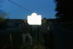 """The start of our Walk Across Wales for the Falcon Appeal 630am on a freezing cold morning, Andy and walking partner Rob at Anchor Bridge on the English-Welsh border. The sign does actually say """"Croeso y Cymru"""" amongst other things but you will have to take my word for it."""