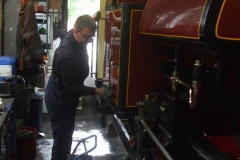 Saturday, 27.7.2019. Things are looking optimistic, with Ben producing a gleaming finish on loco No. 7 as it gently raises steam …