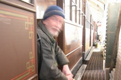… and Neil relaxes as he cleans up ventilators from the clerestory of carriage No. 22.
