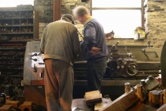 In the afternoon, Chris gives Steve a short course on operating the lathe …