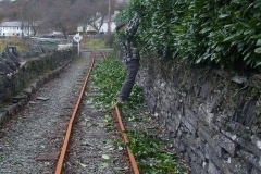 … while in Corris, Stevie is cutting the Churchyard hedge (before train crews get wet!).