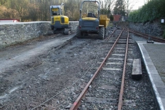 Corris Station Project. Tuesday, 26.2.2019. All the railway wall has gone …