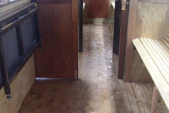 Sunday, 30.8.15. Peter has been varnishing the floor of carriage No. 22 …