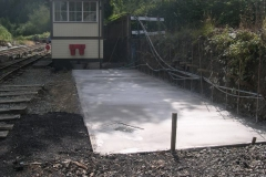 Thursday, 27.8.15. Yesterday, a concrete slab for a siding extension and base of a retaining wall in Maespoeth yard, was laid.