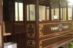 (August) Original carriage, thought to be 7, displayed in Corris Museum. Freshly varnished north saloon.