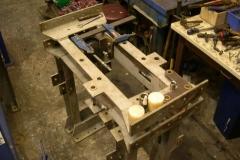 (June) Brake system parts on bogie stretcher.