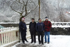 Andrew, Jack, Trefor and Charles shiver on the platform...