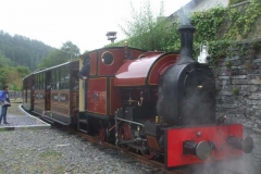 ... as Trefor arrives from Maespoeth with the first load of passengers.