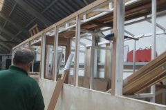 ... while in the Carriage Shed Mark is preparing timber items to be added to the skeleton of carriage No. 24's body work.
