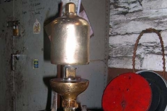 … and the safety valve and whistle assembly has been removed prior to No. 7's cold boiler exam.