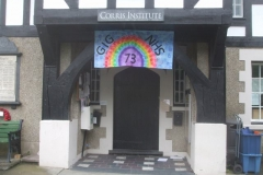 … and in Corris, a large banner has been displayed at The Institute, celebrating the NHS' 73rd Anniversary.