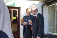 In the evening, the Society's 50th Anniversary Dinner was held in the Ty'n y Cornel Hotel, Talyllyn, where the guest speaker, Anthony Coulls and our Chairman chat outside ...