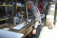 Peter then moves on to undercoat the new name board for the Signal Box …