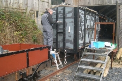 Andrew continues with restoration work on the P Way van.