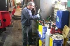 Sunday, 18.10.15. Trefor is working on the mechanical lubricator of loco No. 7 …