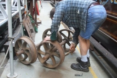 … Tony cleans up waggon wheelsets …