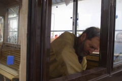 Meanwhile, in a study of concentration, Richard re-secures internal panelling removed to secure passage of the cables to the carriage inter-connectors.