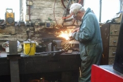 Meanwhile, in the Engine Shed Bob is preparing steel for another track jack …