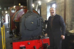 Saturday, 18.9.2021. Trefor is happy to have reassembled the air pump exhaust and spark arrestor inside the smokebox of No. 7 at Pendre (Tywyn), and is about to have lunch before dismantling the air pump for No. 10 for modifications (in line with latest TR practice), so that it can be fitted to No. 7 and then that pump modified to suit.