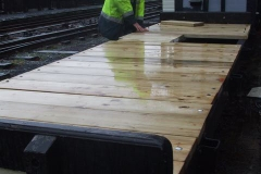… and the last of the planks for waggon No. 18 have been cut and drilled but some still need more work indoors.