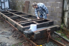 … while outside, Tony is cleaning up the frames of waggon No. 218 (ex-Lydd Ranges).
