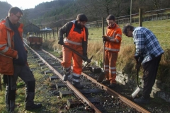 Saturday, 18.1.2020. In bright sunshine, Ben, Sam, Owen and Tony work up the line, slewing and packing the track …