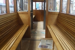 Tuesday, 19.11.2019. The seats and panelling above in carriage No. 23, have received their priming coat of varnish ...