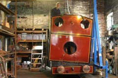 …while in the Engine Shed, the cab of No. 7 is separated from the loco frames …