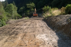 The new excavation is tracked in before rolling ...